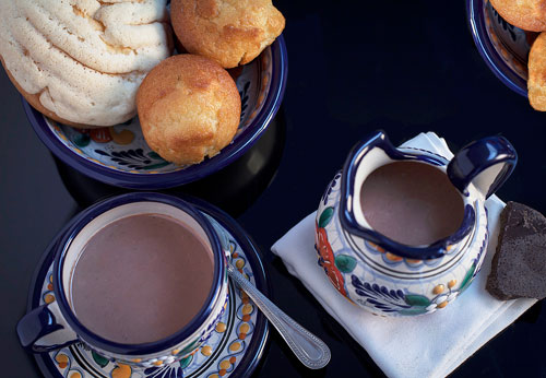 Champurrado accompanied with sweet bread