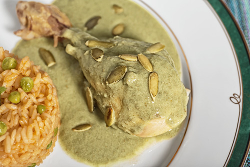 Chicken in Green Pipian served with rice