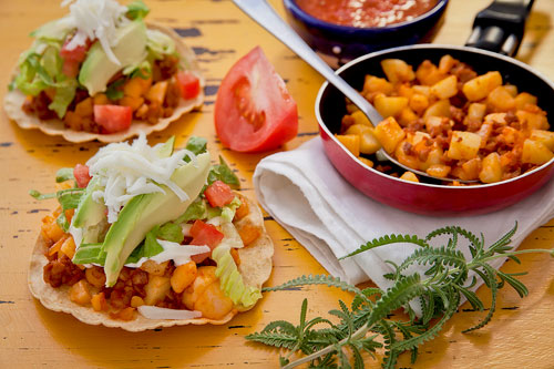 Chorizo and Potatoes Tostadas